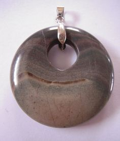 Large 50mm Gemstone Donut Pendant with Bail, Brown Grey Stone, Beading Supplies  # #donut