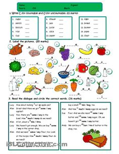 A test on food with five tasks: countable/uncountable nouns, food vocabulary, a/an/some/any, odd word out, restaurant conversation. Hope it´s useful for you mada :) - ESL worksheets English Test, Kids English, English Course, English Lessons, Learn English, Food Vocabulary, Vocabulary Worksheets, English Vocabulary, Printable Worksheets