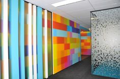 Office design, I like the coloured pillars and the design on the glass wall