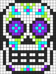 Cráneo del azúcar de Dia De Los Muertos Perler Bead Pattern / Bead Sprite