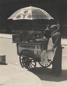 "Hot Dog Vendor, NYC, 1936, silver print, c.1936. ""Cum git yur red hots!"""