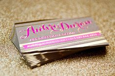 Gold Foil Business Cards by Aubri Duran via Oh So Beautiful Paper