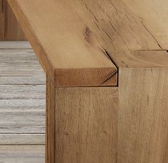 RH's Reclaimed Russian Oak Parsons Bench:Handcrafted of solid reclaimed white oak timbers from decades-old buildings in Russia, our Parsons-style bench is simple and functional in design. A salute to clean and contemporary style, the bench celebrates the beauty of unadorned Russian salvaged oak. Free of ornamentation, the straight panel legs fit smoothly into the notched bench corners.