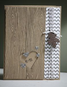 One Handmade Me  You Card Carved Tree I Love You by strandedpaper