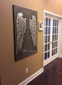 Angel Wings on Canvas | Raised Relief Stenciled Canvas Art by Simple Southern Charm with Modern Masters Texture Effects, Tintable Glaze and Champagne Metallic Paint | Link has How-to Tutorial