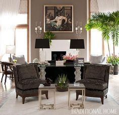 Pair of acrylic lamps from Circa Lighting, pair of chairs and bunching tables from Pearson.  New Jersey Showhouse. Designer Angela Giguere-Kumble | Traditional Home