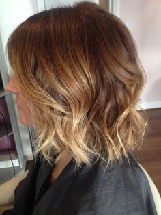Balayage highlights on this wob- yeah that's a wavy bob! By Amy at bows hair and beauty