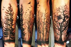 Forest Wood Sleeve Tattoo Left Arm