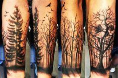 Forest Wood Sleeve Tattoo Left Arm
