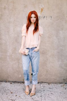 "ADORE the feminine colors and accessories with the masculine ""boyfriend"" jeans!!"