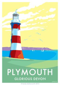 my seaside poster http://beckybettesworth.myshopify.com/ Tourism Poster, Poster Ads, Poster Prints, Tour Posters, Art Deco Posters, British Isles Travel, Vintage Surf, Vintage Style, Lighthouse Art
