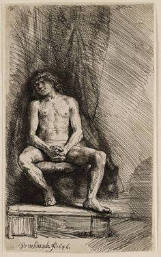 Rembrandt in Teylers Museum: Naakte jongen, gezeten voor een gordijn (193)