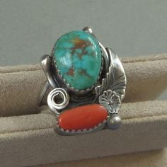 #YearsAfter SIGNED Vintage NATIVE American Indian Turquoise RING Red Coral Gemstone Sterling Silver Navajo Womens Jewelry Rings, Size 6, Gift for Her #nativeamericanjewelry #navajorings #turquoiserings #vintagejewelry
