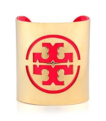 Lobster Tory Burch Patent Leather Stencil Logo Cuff