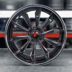"WEBSTA @ wheels - @forgiato F2.04Size: 22""Forging: CFinish: Carbon Fiber/Metallic Grey/Red Center on Chrome Lip"