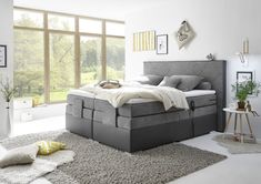 Boxspringbett TRENTON 3 180x200cm H2 dunkelgrau » Mega Möbel Bedroom Layouts, Bedroom Styles, Bedroom Colors, Bedroom Makeovers, Farmhouse Master Bedroom, Home Bedroom, Kids Bedroom, Dispositions Chambre, Cool Room Decor