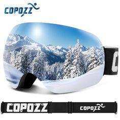 aa699b87b7f COPOZZ Anti-Fog Ski Goggles Spherical Frameless Ski Snowboard Snow Goggles  100% UV400 Protection Anti-Slip Strap for Men Women