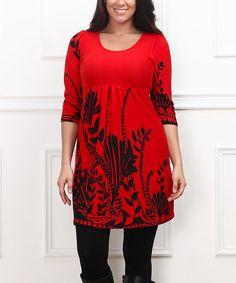Red & Black Floral Empire-Waist Tunic - Plus #zulily #zulilyfinds
