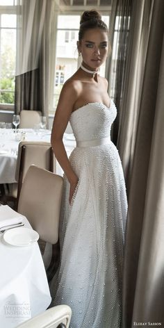 elihav sasson spring 2018 bridal strapless sweetheart fully beaded a line ball gown wedding dress (vj 008) mv modern romantic -- Elihav Sasson 2018 Wedding Dresses