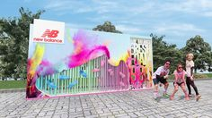 jae hyang : new balance promotion booth 3 type Photo Booth Design, Environmental Graphics, Stage Design, Event Decor, Frames On Wall, New Balance, Perspective, Entrance, Backdrops