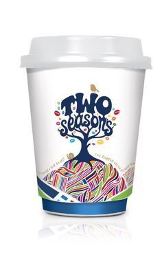 Two Seasons Coffee cup design - the brief was to create customer and consumer interest, awareness, and ultimately trial of the newly developed Two Seasons coffee brand