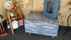 Free Shipping! Mother's Day Gift Shabby Chic Crate Trunk Coffee Table on Wheels. Inside Storage for Blanket's,Toy's,Book's. Distressed Decor by TheRustyBucketVT on Etsy