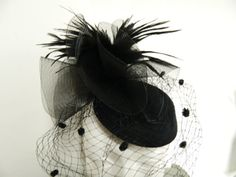 Vintage inspired black feather tulle oval hat by aprilsunrises