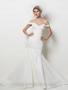 Sheath/Column Off-the-shoulder Taffeta Sweep Train White Ruffles Wedding Dresses at Millybridal.com  Love the sexiness and glamour. Reminds me of the green dress from Burlesque