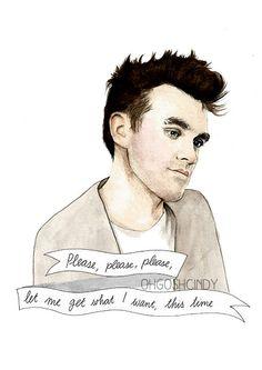 Morrissey Aquarell Portrait Abbildung drucken The Smiths
