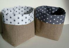 panière ou pot tissu étoiles