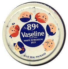 Limited colour palette, on this retro Vaseline packaging. Vintage Tins, Retro Vintage, Retro Baby, Vintage Graphic, Vintage Labels, Vintage Ephemera, Vintage Stuff, Vintage Metal, Vintage Packaging