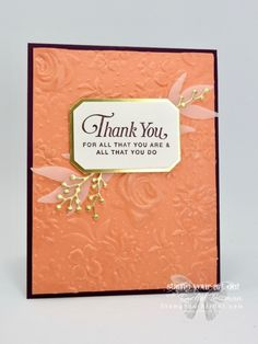 Country Floral & Wink of Stella - Stamp Your Art Out! Fun Fold Cards, Folded Cards, Stampin Up Karten, Wink Of Stella, Embossed Cards, Stamping Up Cards, Get Well Cards, Mothers Day Cards, Embossing Folder