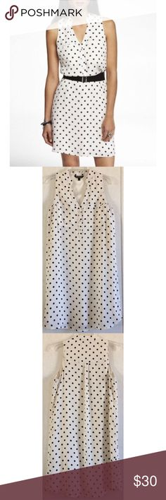 Express Polka Dot Shift Shirtdress Some makeup around the collar. Some small spots of makeup on the pocket and on the front. Couple of tiny snags. One side looks slightly longer than the other. Super cute Express dress. White chiffon material with black polka dots. Fully lined inside with satin. Shirtdress style with a few silver buttons up the front. Two slip pockets on the front, still sewn shut. Shift style dress with very little fitting. Stock photo shows a belt, but no belt is included…