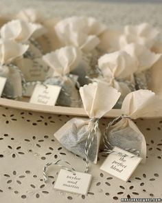 """See the """"Tea Bundles for Favors"""" in our Bridal Shower Tea Party Ideas gallery"""