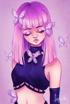 "My take on 's ""draw in your style challenge"". Dark Art Drawings, Cute Drawings, Bel Art, Art Style Challenge, Art Mignon, Cute Kawaii Girl, Mermaid Drawings, Virtual Art, Goth Art"
