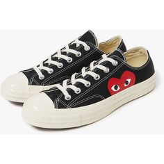 b3ae3ed0f148 Comme des Garçons Play Play Converse Low in Black ( 390) ❤ liked on  Polyvore. Black Lace ShoesBlack ...