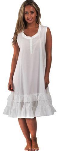 9ec22047ca 100% Cotton Nightdress Vintage Victorian Nightie 8 10 12 14 16 18 20 22 24  Layla