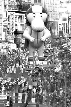 New York City: Snoopy first appeared in 1968. Since then he has been the most featured character in Macy's Thanksgiving Day Parade history. 1942 to 1944 were the only three years the parade did not occur due to helium shortages during World War II.