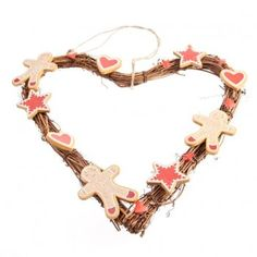 Gisela Graham Christmas Gingerbread Heart Christmas Wreath - Gisela Graham Christmas from Mollie & Fred UK