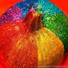 rainbow glitter pumpkin directions.