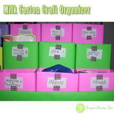 Milk Carton Craft Organizer