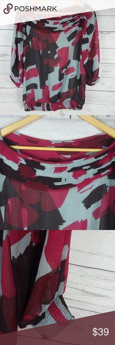 "Bebgmaxazria blouse Bebgmaxazria blouse,elestic bonded hem, sheer lined fabric, gathered neckline, cut out 3/4  sleeves Armpit to armpit:19 1/2"" Shoulder to hem:24"" 100%polyester BCBGMaxAzria Tops Blouses"