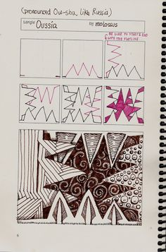 Life Imitates Doodles: New tangle, Oussia, and Review of Geneviève Crabes Tangle Organizers and Journal 2012