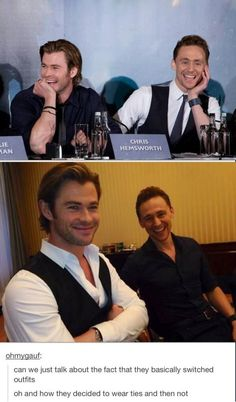 Funny and hilarious avengers memes. tom hiddleston and chris hemsworth switching outfits. Marvel Dc, Marvel Actors, Loki, The Avengers, Marvel Jokes, Marvel Funny, Avengers Memes, Chris Hemsworth, Tom Hiddleston