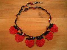 red rose necklace crochet short by PashaBodrum on Etsy, $20.00