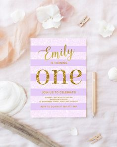 Purple and gold first Birthday Invitation. Created with beautiful calligraphy, bright/soft purple and gold glitter, this party invite will be perfect for your baby girls birthday. You will receive an ~DIGITAL DOWNLOAD~ 300 dpi resolution ready to print JPEG file size 5x7