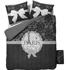 Sleeptime Bettwäsche I Love Paris Grey - 200x200/220 - Grau + Mit 2 Kissenbezüge 60x70