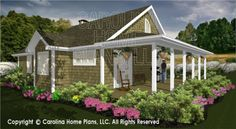 Plans for open concept, 2 bedroom cottage with wraparound porch