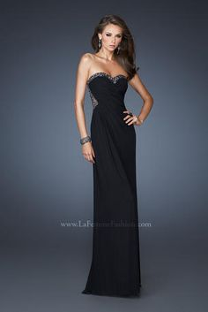 This stretch net dress is so chic with beads and sequins covering the edge of the sweetheart neckline and soft gathers throughout the body of the gown. The back of this dress is just as stunning as the front with illusion straps, sequins and beaded details. Side zipper closure. http://www.reflectionsbridalandprom.com/detail.php?ProdId=6340703&CatId=17646&resPos=125#subtitle $398.00