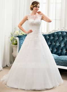 Ball-Gown Scoop Neck Sweep Train Organza Tulle Lace Wedding Dress With Beading Sequins (002054358) - JJsHouse